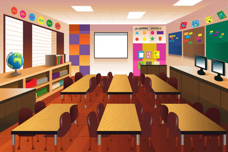 An illustration of empty classroom for elementary school