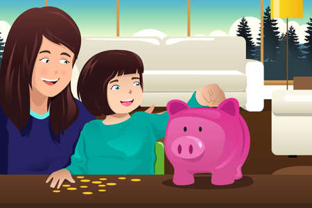 teaching adult: An illustration of Mother and daughter saving money to a piggy bank