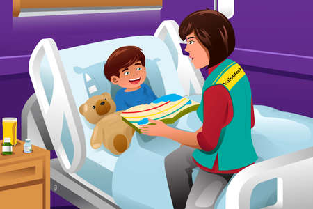 hospital cartoon: An illustration of volunteer reading a story at the children hospital