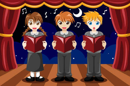 An illustration of group of children singing in a choir Vector