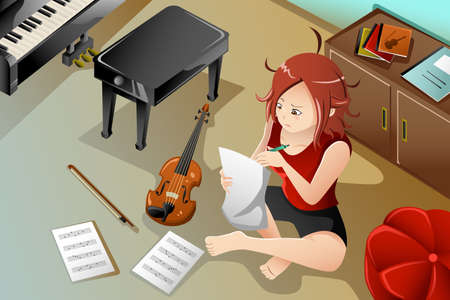 An illustration of young songwriter with her violin in her bedroom