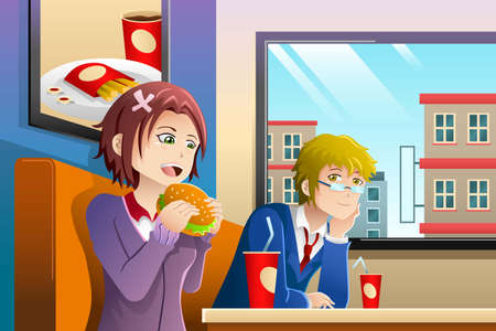 An illustration of couple eating lunch together at a fast food restaurant 일러스트
