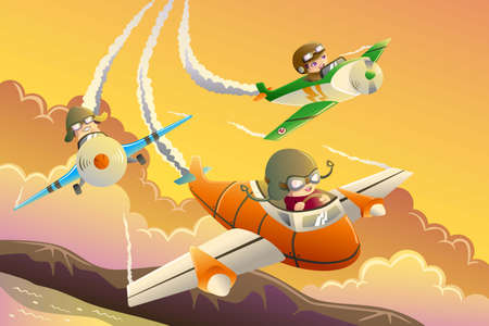 An illustration of happy kids in an airplane race