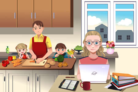 Ilustrace moderní rodiny, která otec připravuje večeři se svými dětmi, zatímco matka pracuje