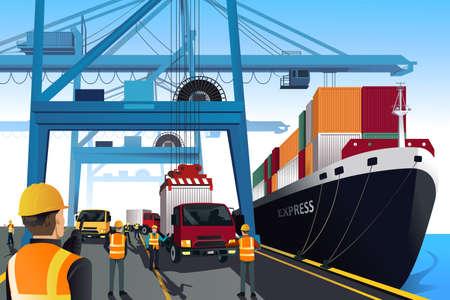 schepen: Een illustratie van de scheepvaart haven scène Stock Illustratie
