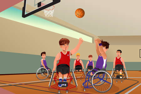 An illustration of men in wheelchairs playing basketball in the gym Vector