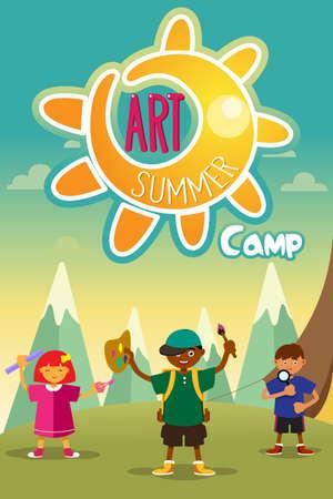 アート夏キャンプ ポスター デザインのイラスト  イラスト・ベクター素材