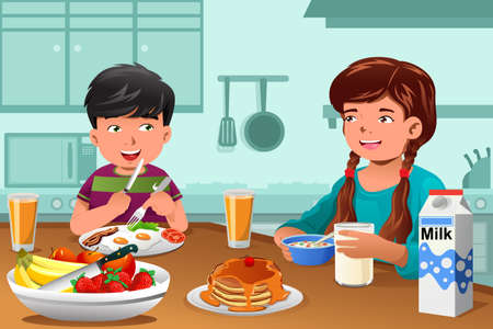 happy healthy woman: An illustration of happy kids eating healthy breakfast at home