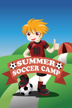 A illustration of soccer summer camp poster design Vector