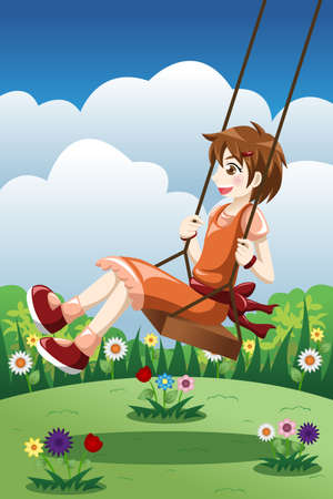 An illustration of happy girl playing swing in a park Vector
