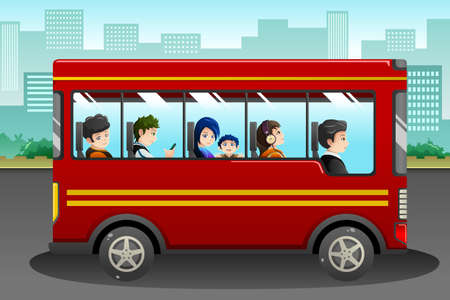 An illustration of different people riding a bus Vettoriali