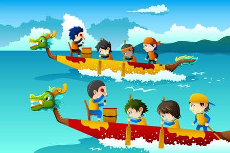 bateau de course: Une illustration d'enfants heureux dans une course de bateaux