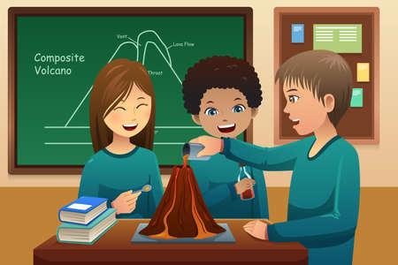 cartoon volcano: A illustration of elementary students doing a volcano experiment at school