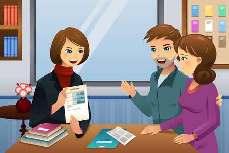 educadores: Un ejemplo de los padres y reuni�n profesor que discute el desempe�o de clase del estudiante Vectores
