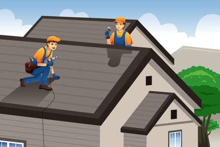 家の屋根の上の作業の屋根葺き職人のイラスト  イラスト・ベクター素材