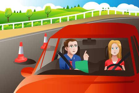 Een illustratie van de tiener in een weg rijexamen met een volwassene inspecteur