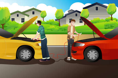 A illustration of two people trying to jump start a car Ilustrace
