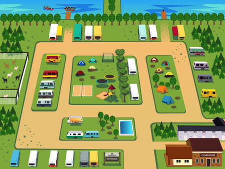 A illustration of campground map design