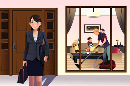 young girl: A illustration of mother going to work while father doing housework Illustration
