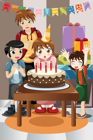 kids birthday party: A illustration of kids  celebrating birthday party