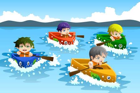 bateau de course: Une illustration des enfants heureux dans une course de bateaux