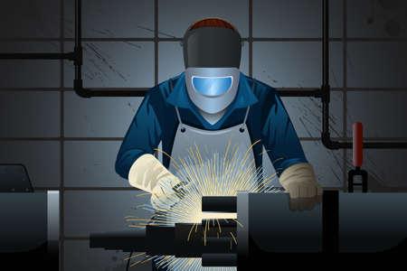 soldador: ilustración de soldador que trabaja en una máquina Vectores