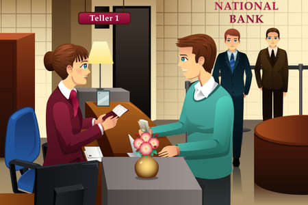 teller: illustration of bank teller servicing a customer in the bank Illustration