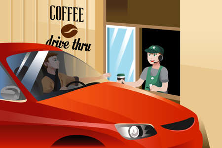 illustration of barista serving customer in a drive through coffee shop