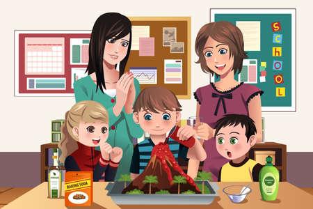 illustratie van elementaire studenten doen van een vulkaan experiment op school Stock Illustratie
