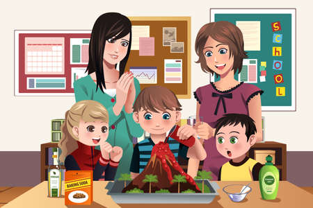 illustration of elementary students doing a volcano experiment at school Vector