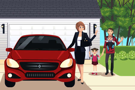 illustration of mother going to work while father taking care their children  Vectores