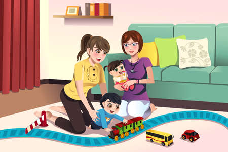 illustration of young lesbian parents playing with their kids