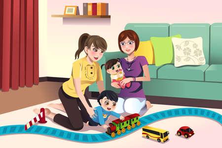 lesbianas: ilustración de los padres jóvenes lesbianas jugando con sus hijos