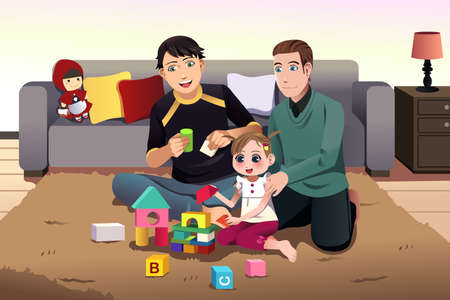 happy couple: illustration of young gay parents playing with their daughter at home