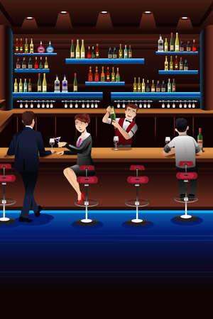 bar lounge: illustration of bartender working in a bar