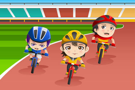 bicycle race: illustration of happy kids in a bicycle race