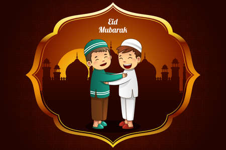 A illustration of Eid-Al-fitr greeting card design