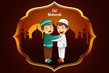 happy kids: A illustration of Eid-Al-fitr greeting card design