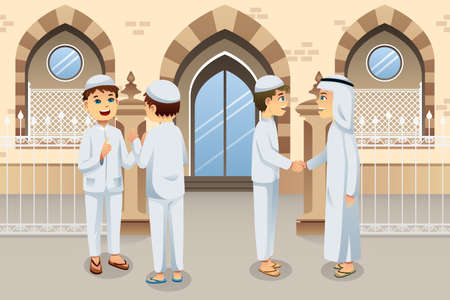 A illustration of people celebrating Eid-Al-fitr 矢量图像