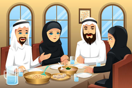 A illustration of people celebrating  Eid-Al-fitr