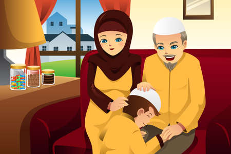 A illustration of Happy family celebrating Eid-Al-fitr