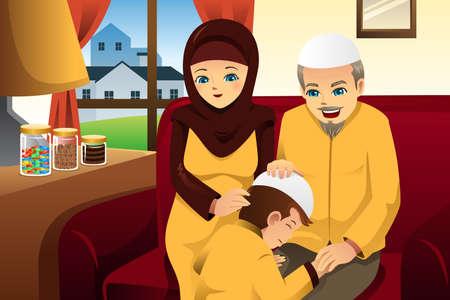 A illustration of Happy family celebrating Eid-Al-fitr Vector