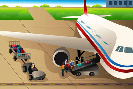 A illustration of workers loading luggages into an airplane in the airport Illustration