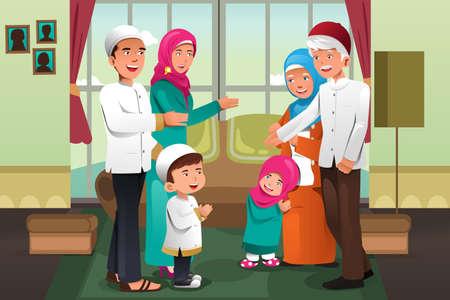 abuelo: Una ilustración vectorial de familia feliz celebrando el Eid-al-Fitr