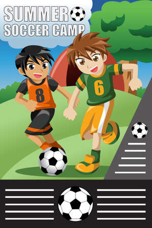 A illustration of summer soccer camp design Vector