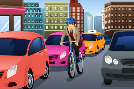 A illustration of businessman biking in the city