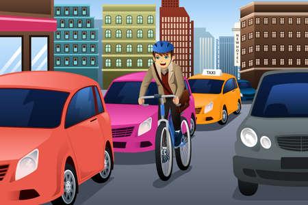 Een illustratie van zakenman fietsen in de stad