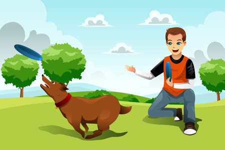 A vector illustration of young man playing with his dog in the park Illustration