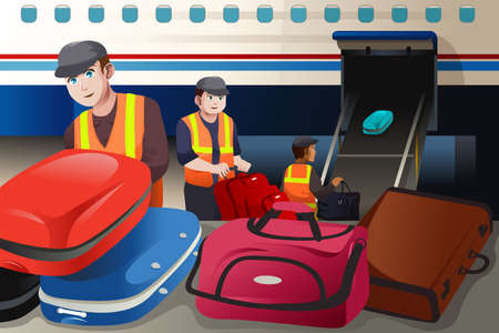 A vector illustration of workers loading luggage into an airplane in the airport Vectores