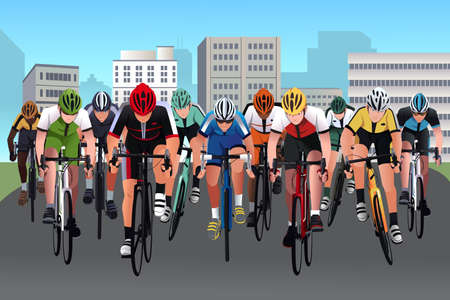sport cartoon: A illustration of group of people in a bicycle race